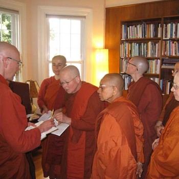 Creating a sima at Aloka Vihara with the bhikkhunis of Aranya Bodhi Hermitage.