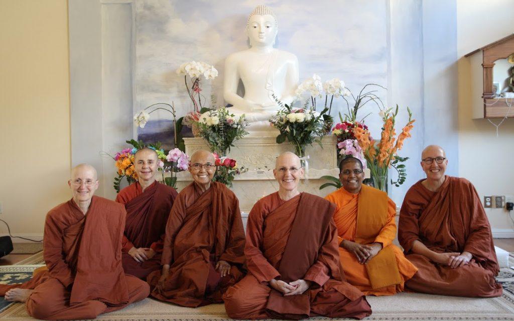 Ayya Medhanandi, Ayya Santacitta, Ayya Gunasari, newly ordained Ayya Ahimsa, Ayya Sudarshana, Ayya Anandabodhi, 2017
