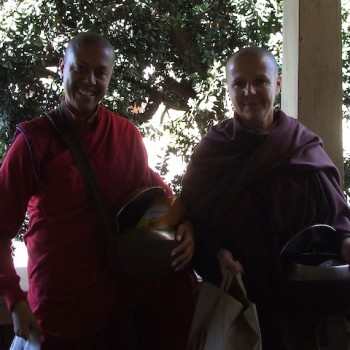 Tsunma Chimey Lhatso & Ajahn Santacitta returning from almsround, Aloka Vihara, Oct 2010