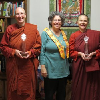 Showing off our awards to Jill Boone, Founding President of the Saranaloka Foundation
