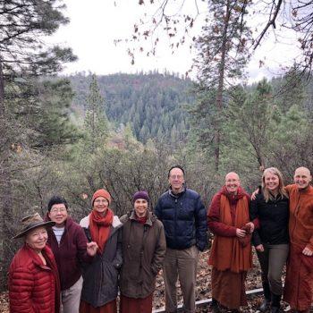 Nuns and Saranaloka board at the site for the new kuti