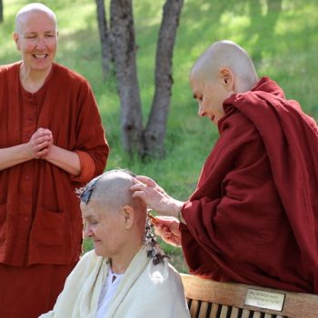 Janice's head shaving ceremony